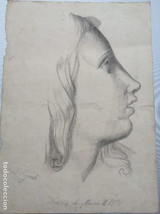 Arte: Dibujo original firmado Salvador Sagredo siglo xix - Foto 4 - 244019065