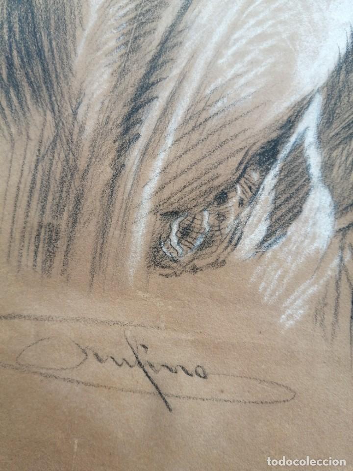 Arte: Dibujo original. Tehnica mixta firmado y dedicado autor a identificar siglo xix - Foto 2 - 244022050