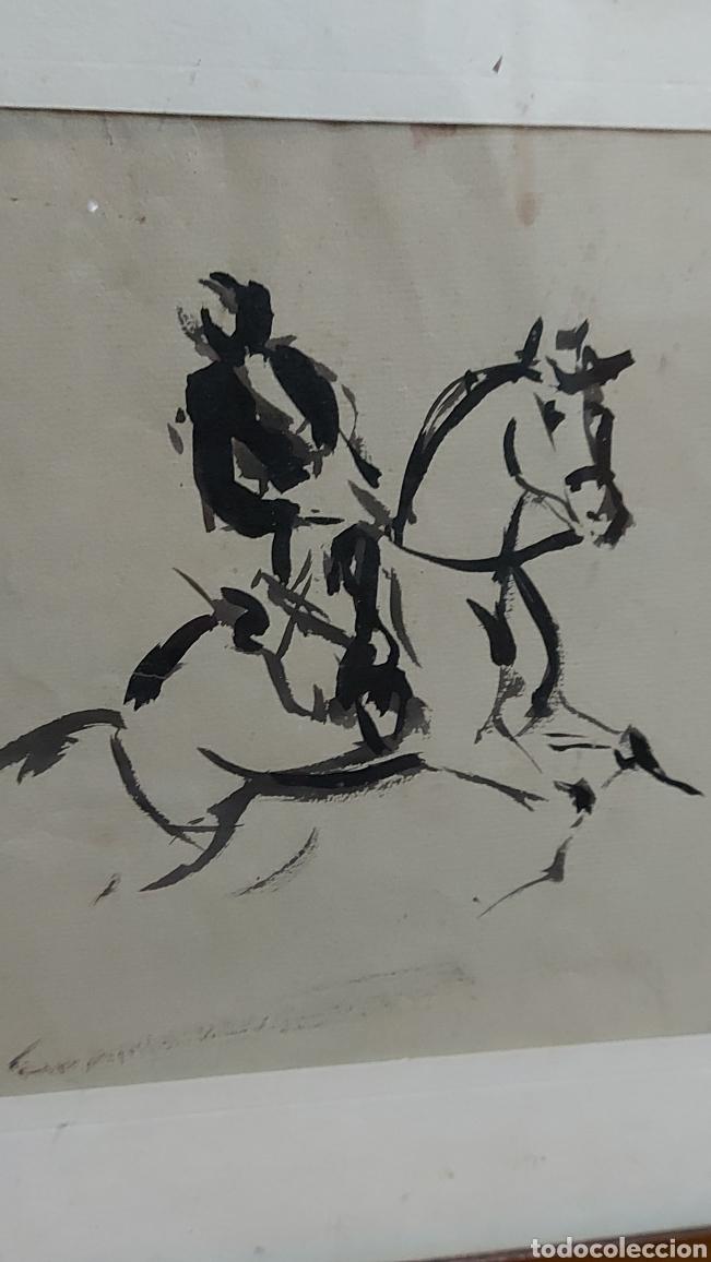 Arte: Dibujo hecho a mano Jinetes, Caballo Tauromàquia? . Cuadro Tamaño dibujo 61 x 20 cm aprox - Foto 2 - 244575870