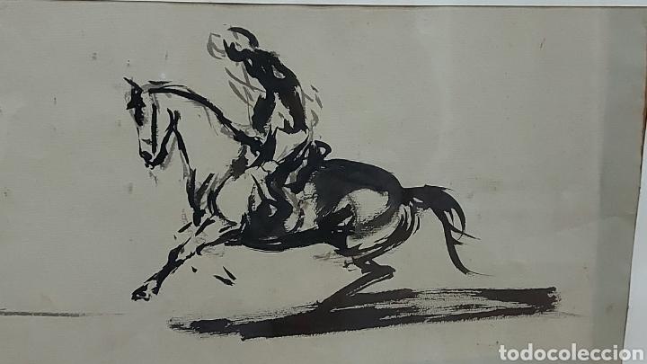 Arte: Dibujo hecho a mano Jinetes, Caballo Tauromàquia? . Cuadro Tamaño dibujo 61 x 20 cm aprox - Foto 4 - 244575870