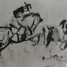 Arte: DIBUJO HECHO A MANO JINETES, CABALLO TAUROMÀQUIA? 68X43CM. Lote 244577180