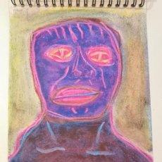 Arte: OBRA DE ARTE ORIGINAL STEVEN MANLEY CERA SOBRE PAPEL RETRATO PRIMITIVISMO BASQUIAT. Lote 244637190