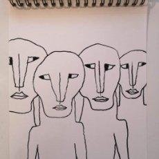 Arte: OBRA DE ARTE ORIGINAL STEVEN MANLEY ROTULADOR ACRILICO NEGRO SOBRE PAPEL RETRATO PRIMITIVISMO. Lote 244642055