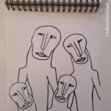 Arte: OBRA DE ARTE ORIGINAL STEVEN MANLEY ROTULADOR ACRILICO NEGRO SOBRE PAPEL RETRATO PRIMITIVISMO. Lote 244642265