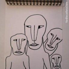 Arte: OBRA DE ARTE ORIGINAL STEVEN MANLEY ROTULADOR ACRILICO NEGRO SOBRE PAPEL RETRATO PRIMITIVISMO. Lote 244642330