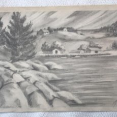 Arte: DIBUJO A LÁPIZ FIRMADO 1953. PAISAJE.. Lote 244650345