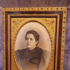 Arte: RETRATO AL CARBONCILLO FIRMADO Y FECHADO POR J.CARRANZA EN 1896. Lote 244741950