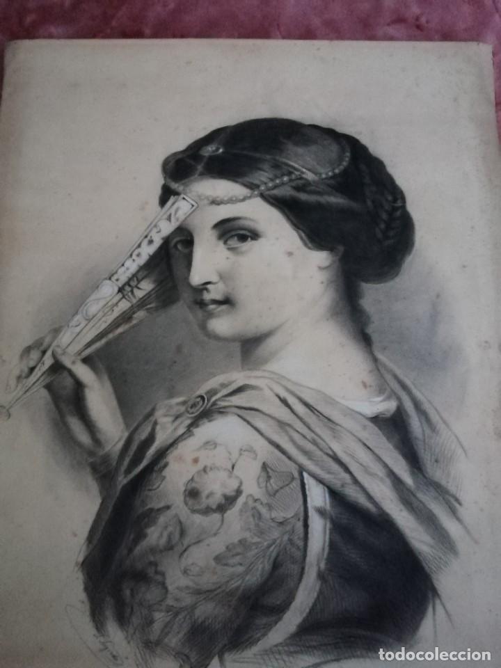 DIBUJO ORIGINAL TEHNICA MIXTA. FIRMADO SALVADOR SAGREDO SIGLO XIX (Arte - Dibujos - Modernos siglo XIX)
