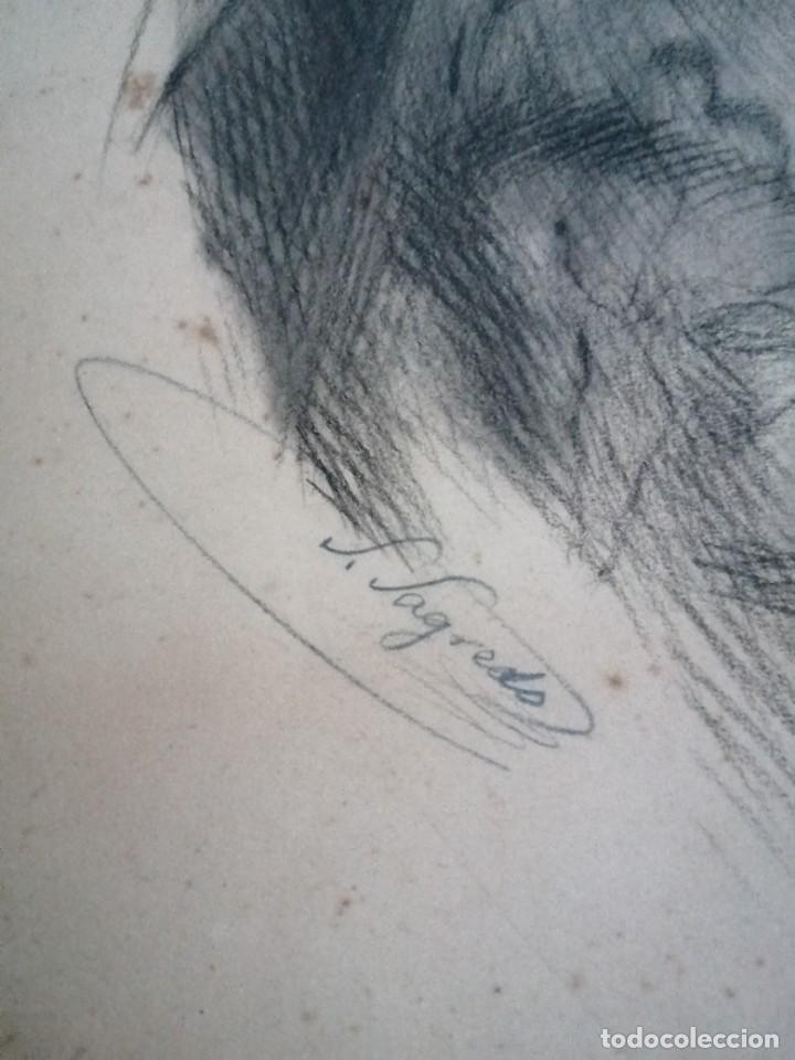 Arte: Dibujo original tehnica mixta. Firmado Salvador Sagredo siglo xix - Foto 3 - 244751380
