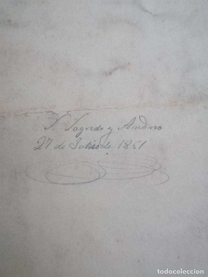 Arte: Dibujo original tehnica mixta. Firmado Salvador Sagredo siglo xix - Foto 5 - 244751380
