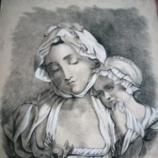 Arte: DIBUJO ORIGINAL TEHNICA MIXTA FIRMADO RUFINO SAGREDO SIGLO XIX. Lote 244752120
