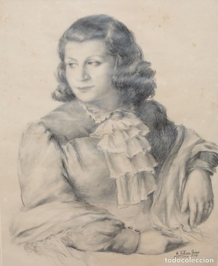 RAMÓN RIBAS RIUS (BARCELONA, 1903 - 1983) DIBUJO A CARBÓN DEL AÑO 1944. RETRATO DE UNA MUCHACHA (Arte - Dibujos - Contemporáneos siglo XX)