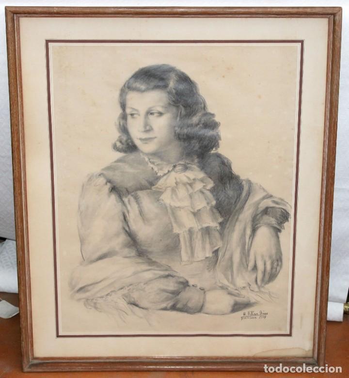 Arte: RAMÓN RIBAS RIUS (BARCELONA, 1903 - 1983) DIBUJO A CARBÓN DEL AÑO 1944. RETRATO DE UNA MUCHACHA - Foto 2 - 244810165