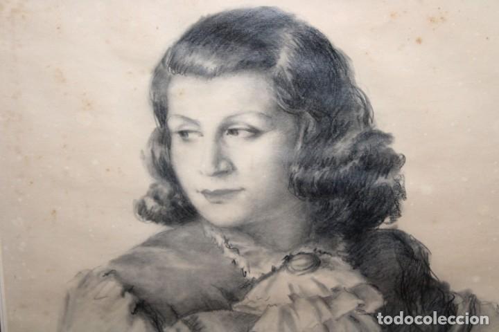 Arte: RAMÓN RIBAS RIUS (BARCELONA, 1903 - 1983) DIBUJO A CARBÓN DEL AÑO 1944. RETRATO DE UNA MUCHACHA - Foto 3 - 244810165