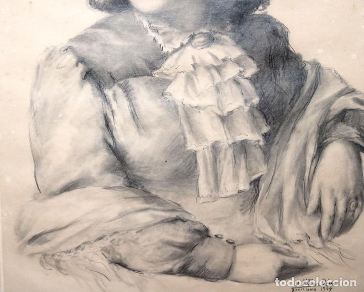 Arte: RAMÓN RIBAS RIUS (BARCELONA, 1903 - 1983) DIBUJO A CARBÓN DEL AÑO 1944. RETRATO DE UNA MUCHACHA - Foto 4 - 244810165