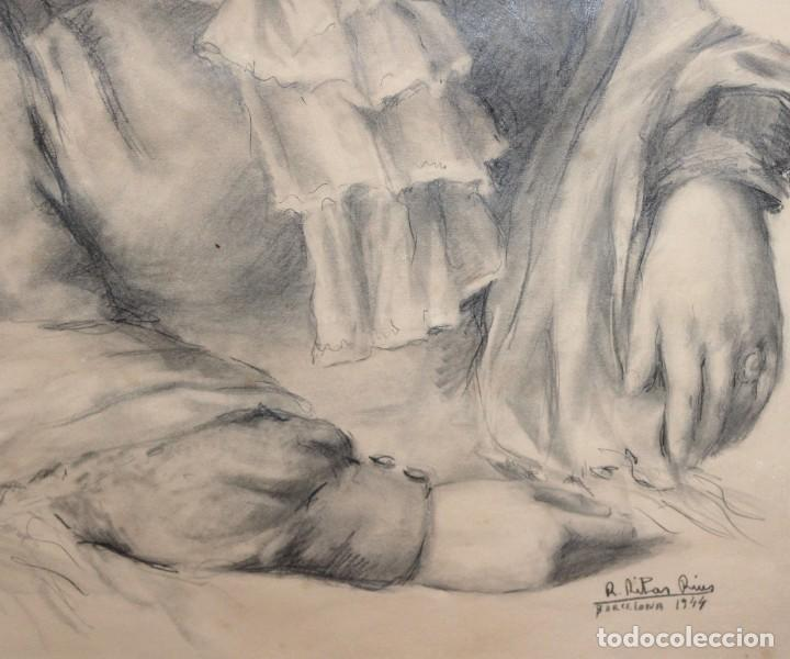 Arte: RAMÓN RIBAS RIUS (BARCELONA, 1903 - 1983) DIBUJO A CARBÓN DEL AÑO 1944. RETRATO DE UNA MUCHACHA - Foto 5 - 244810165