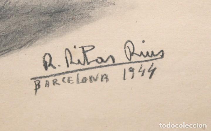 Arte: RAMÓN RIBAS RIUS (BARCELONA, 1903 - 1983) DIBUJO A CARBÓN DEL AÑO 1944. RETRATO DE UNA MUCHACHA - Foto 6 - 244810165