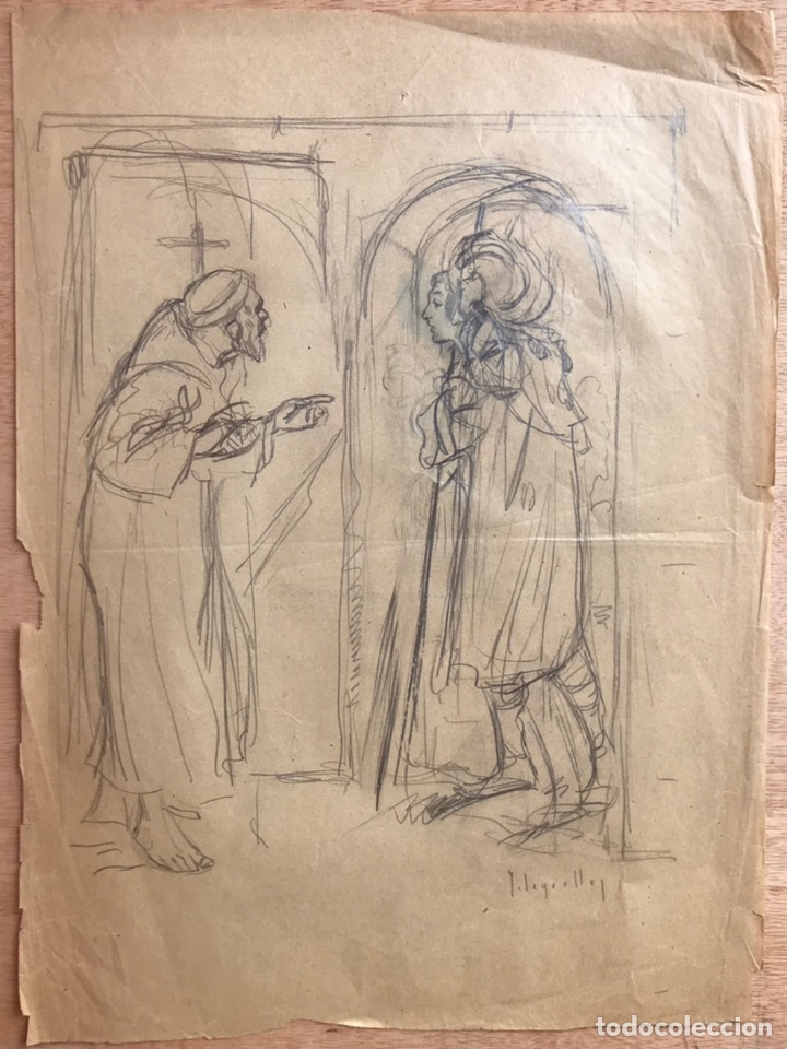 Arte: JOSÉ SEGRELLES. BOCETO ORIGINAL ILUSTRACION FLORECILLAS. AÑOS 20. TEMATICA RELIGION CATOLICA SANTO - Foto 2 - 244995460