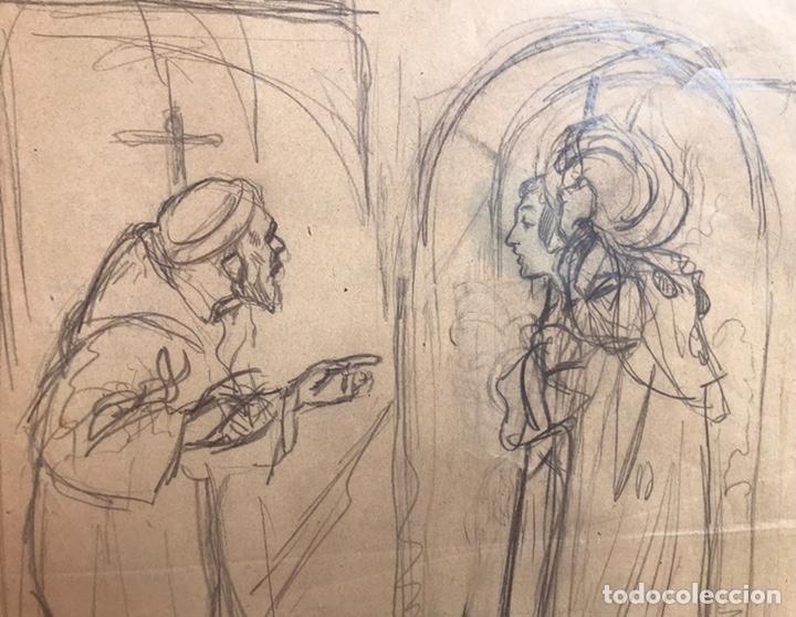 JOSÉ SEGRELLES. BOCETO ORIGINAL ILUSTRACION FLORECILLAS. AÑOS 20. TEMATICA RELIGION CATOLICA SANTO (Arte - Dibujos - Modernos siglo XIX)