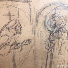 Arte: JOSÉ SEGRELLES. BOCETO ORIGINAL ILUSTRACION FLORECILLAS. AÑOS 20. TEMATICA RELIGION CATOLICA SANTO. Lote 244995460