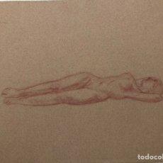 Arte: ISMAEL SMITH, DESNUDO A LÁPIZ DE COLOR ROSA SOBRE PAPEL ROSA. Lote 245158705