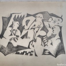 Arte: CUBISM. PENCIL BAND. DIBUJO DE ORQUESTA A LAPIZ. DETRAS DATADO 1900. FIRMA ILEGIBLE.. Lote 245248015