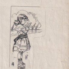 Arte: DIBUJO ORIGINAL MODERNISTA APELES MESTRES A PLUMILLA FIRMADO. Lote 245473460