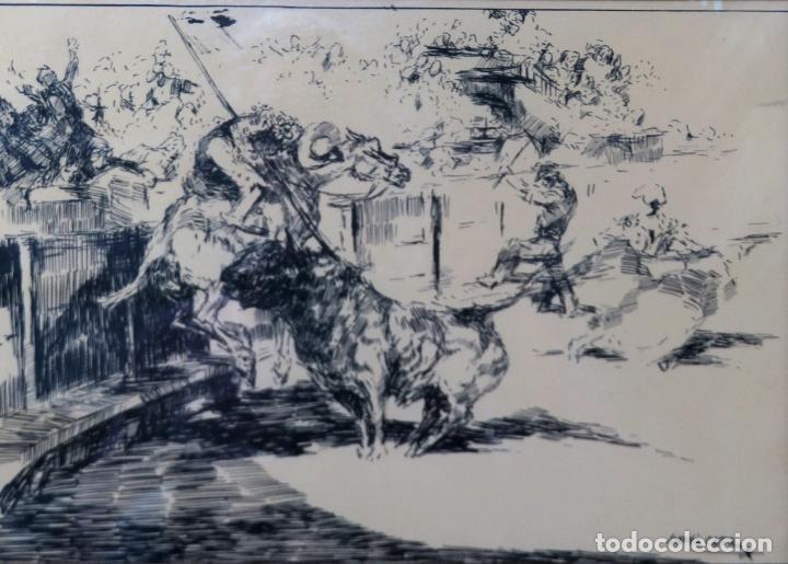 Arte: Derribo del picador dibujo a plumilla sobre papel Antonio Casero Sanz firmada años 60 - Foto 2 - 245548625