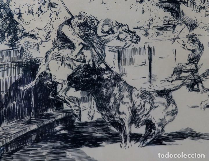 Arte: Derribo del picador dibujo a plumilla sobre papel Antonio Casero Sanz firmada años 60 - Foto 3 - 245548625