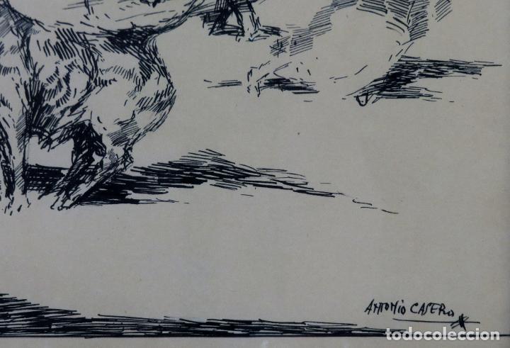 Arte: Derribo del picador dibujo a plumilla sobre papel Antonio Casero Sanz firmada años 60 - Foto 4 - 245548625