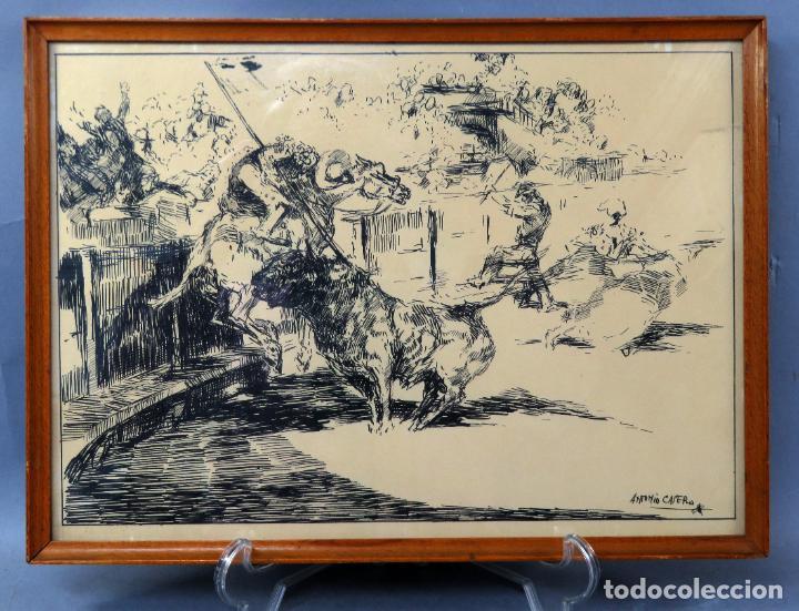 DERRIBO DEL PICADOR DIBUJO A PLUMILLA SOBRE PAPEL ANTONIO CASERO SANZ FIRMADA AÑOS 60 (Arte - Dibujos - Contemporáneos siglo XX)