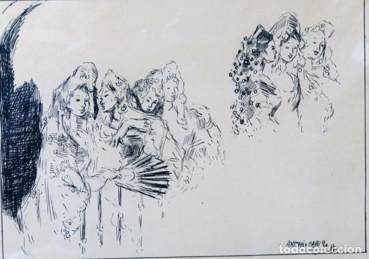 Arte: Retratos manolas dibujo a plumilla sobre papel Antonio Casero Sanz firmada años 60 - Foto 2 - 245549440