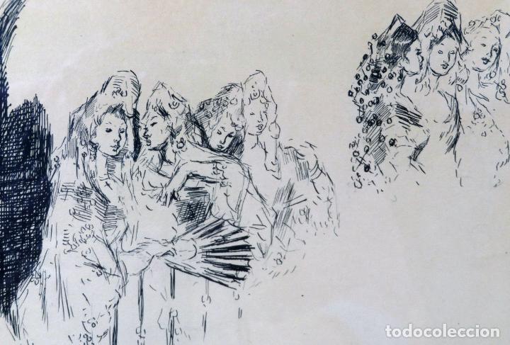 Arte: Retratos manolas dibujo a plumilla sobre papel Antonio Casero Sanz firmada años 60 - Foto 3 - 245549440
