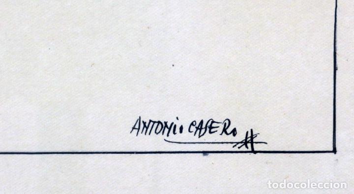 Arte: Retratos manolas dibujo a plumilla sobre papel Antonio Casero Sanz firmada años 60 - Foto 4 - 245549440