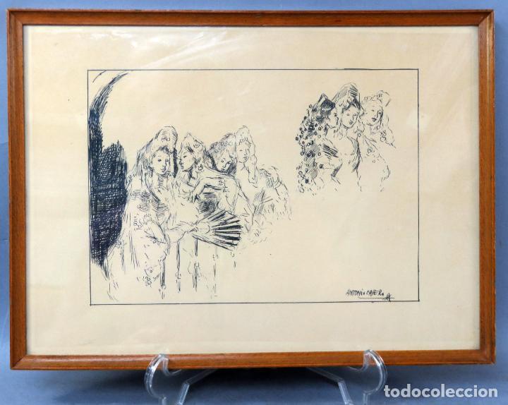 RETRATOS MANOLAS DIBUJO A PLUMILLA SOBRE PAPEL ANTONIO CASERO SANZ FIRMADA AÑOS 60 (Arte - Dibujos - Contemporáneos siglo XX)
