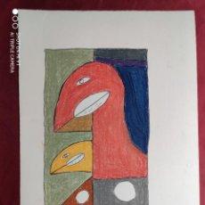 Arte: DIBUJO ORIGINAL A TINTA CHINA. PASTEL. FIRMADO. O. JUNYENT. Lote 245735975