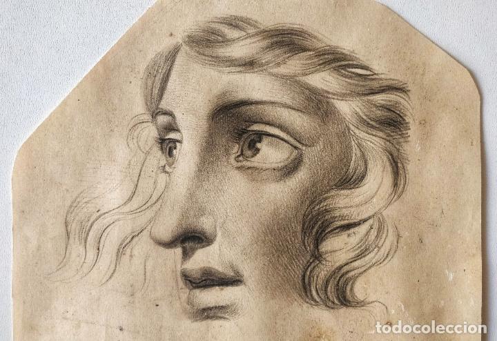 MAGITRAL DIBUJO ORIGINAL A CARBONCILLO, GRAN CALIDAD, EXCELENTE TRAZO, MUY ANTIGUO, OPORTUNIDAD (Arte - Dibujos - Antiguos hasta el siglo XVIII)