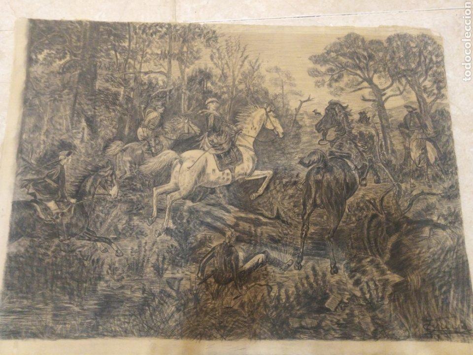 ANTIGUO DIBUJO CON FIRMA CABALLOS DE CACERÍA (Arte - Dibujos - Modernos siglo XIX)