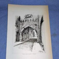 Arte: ANTIGUO DIBUJO A PLUMA DEL PORTAL DELS ROMEUS DE TORTOSA DE J. ROLLAN. Lote 246433045