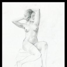 Arte: CELEDONIO PERELLÓN. DIBUJO ORIGINAL CON GRAFITO SOBRE CARTULINA. FIRMADO. Lote 246479530