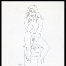 Arte: CELEDONIO PERELLÓN. DIBUJO ORIGINAL CON PLUMILLA SOBRE CARTULINA. FIRMADO. Lote 246532540