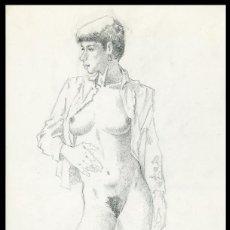 Arte: CELEDONIO PERELLÓN. DIBUJO ORIGINAL CON GRAFITO SOBRE CARTULINA. FIRMADO. Lote 246533985