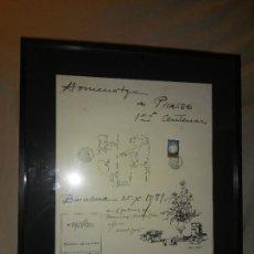 Arte: HOMENATGE A PICASSO 1ER CENTENARI - DIBUJO DE PICASSO FIRMADO.. Lote 246563705