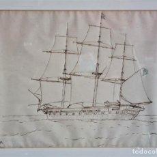 Arte: DIBUJO A TINTA NEGRA, LÁPIZ NEGRO Y DE COLOR, NAVÍO CASPER, FIRMADO W7 MICHELLE, 1877. Lote 246550880