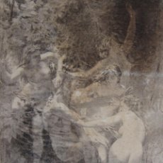 Arte: IMPORTANTE DIBUJO CARBÓN NINFAS Y SATIRO SEGUN COMPOSICIÓN DE BOUGUEREAU (1873), FIRMADO. 58 X 41 CM. Lote 247094650