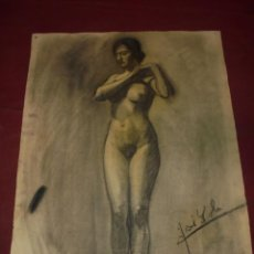 Arte: MAGNIFICO ANTIGUO DIBUJO ESCUELA CATALANA A CARBONCILLO FIRMADO. Lote 247399105