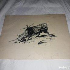 Arte: BELLO DIBUJO ORIGINAL FIRMADO IBARRA AÑO 1959 TORO TAUROMAQUIA. Lote 248104715