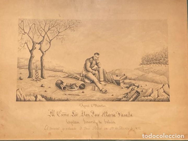 Arte: Aprest d`Waterloo. Al Escmo Sor Don José Mª Vasallo. Capitán Gral de Galicia, por José Portal 1857 - Foto 2 - 248491390