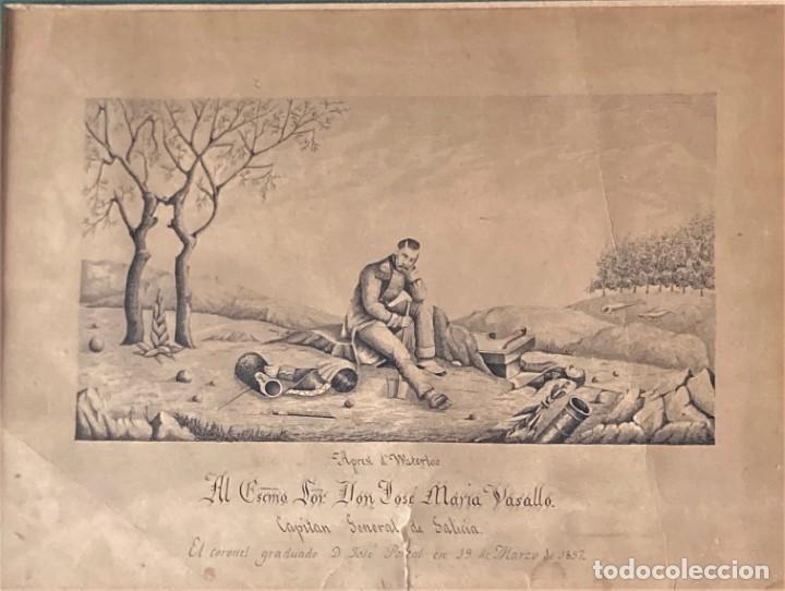 Arte: Aprest d`Waterloo. Al Escmo Sor Don José Mª Vasallo. Capitán Gral de Galicia, por José Portal 1857 - Foto 9 - 248491390