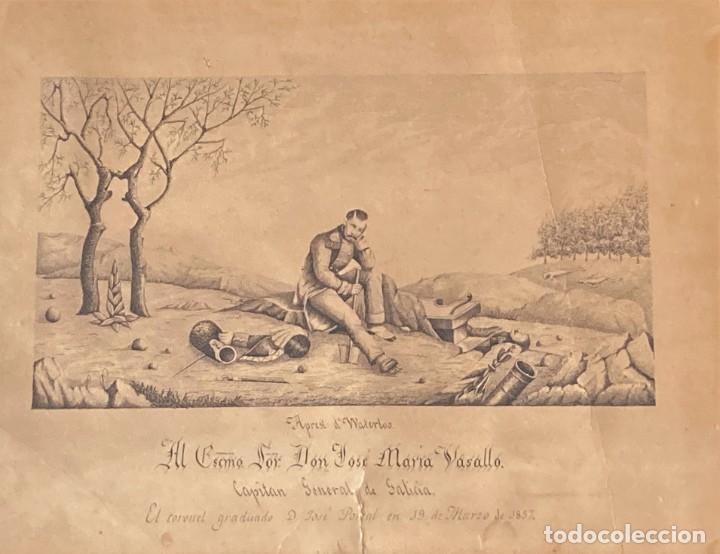 Arte: Aprest d`Waterloo. Al Escmo Sor Don José Mª Vasallo. Capitán Gral de Galicia, por José Portal 1857 - Foto 10 - 248491390